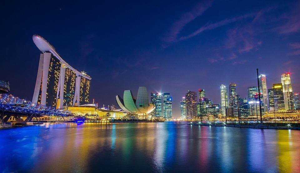 Singapore, Marina Bay, Figure Night, City Mosaic