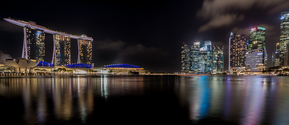 Singapore, Skyline, Night Photograph, Marina Bay