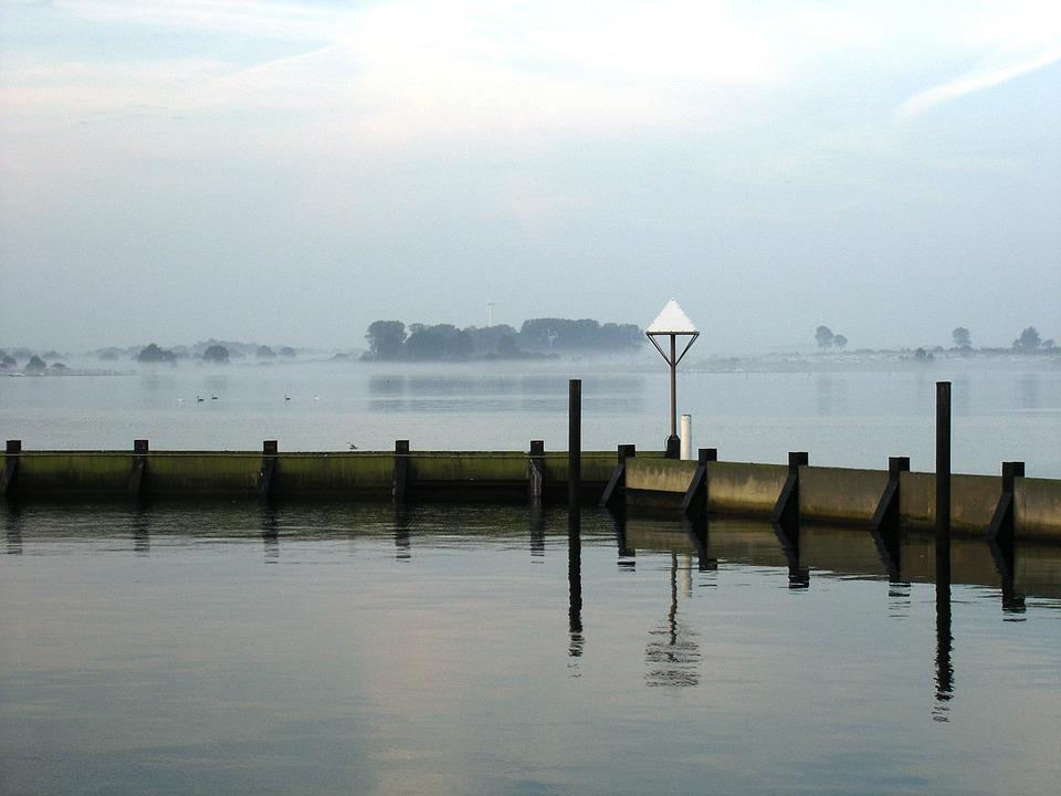 Fog, Port, Lake, Marina, Mirroring, Haze, Shadow, Water