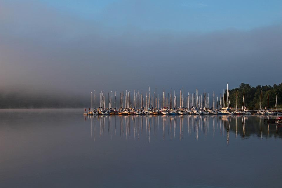 Morning Sun, Se, Water, Marina, Boats, Sail Masts