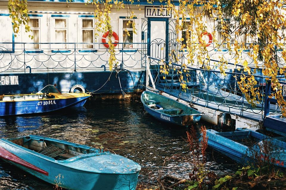 Pier, River, Boat, Marina, Lifebuoy, Autumn, Rope