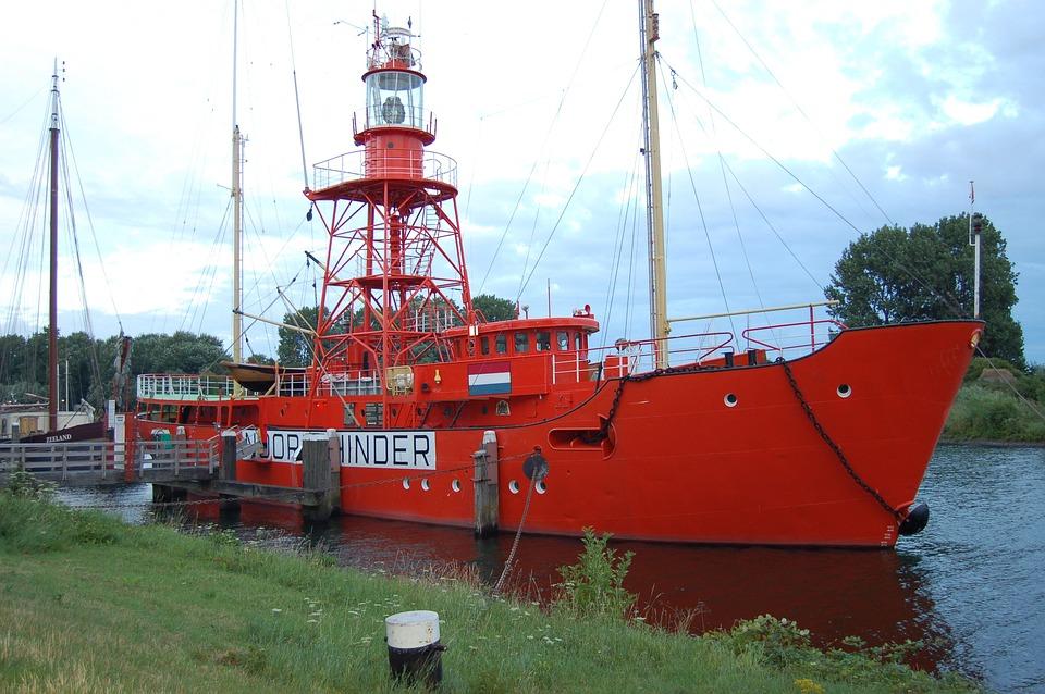 Ship, Beacon, Red, River, Port, Marina