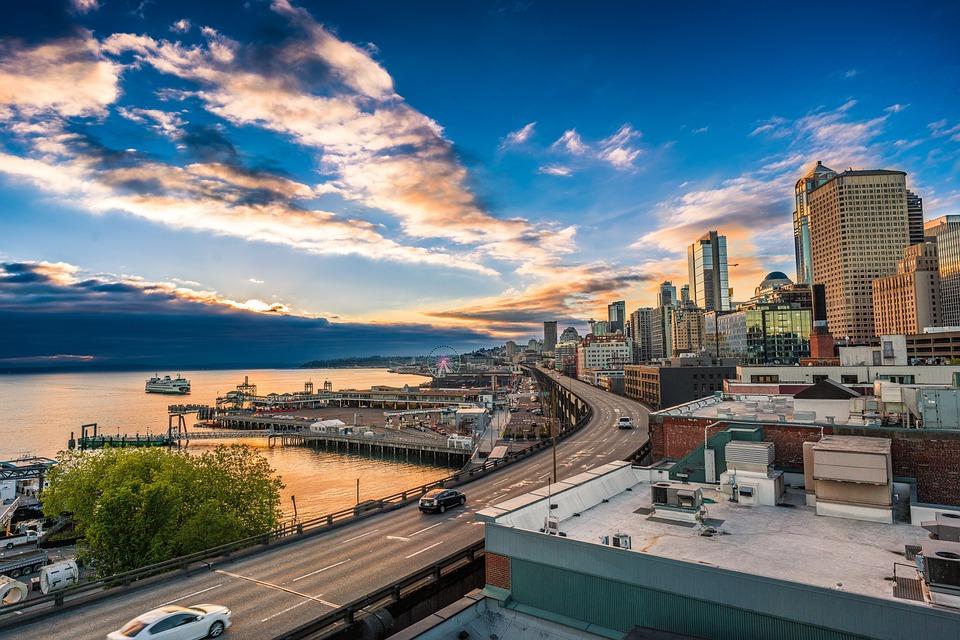 Seattle, Sunset, Marina, Harbor, Sky, Blue, City