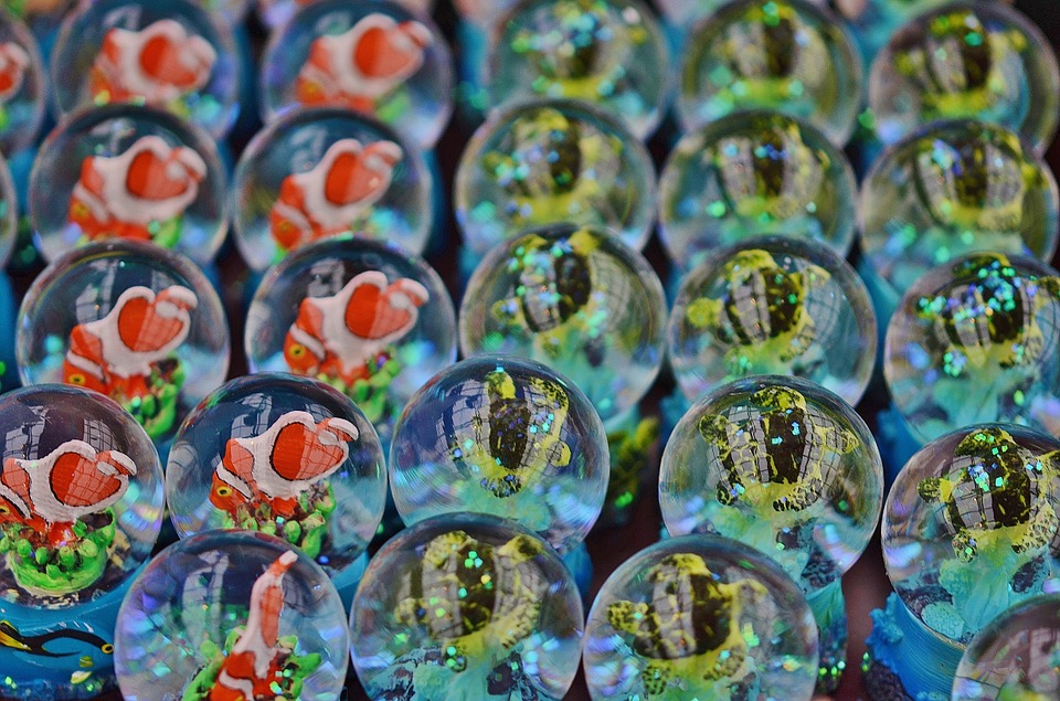 Glass, Bubbles, Blue, Fishes, Marine