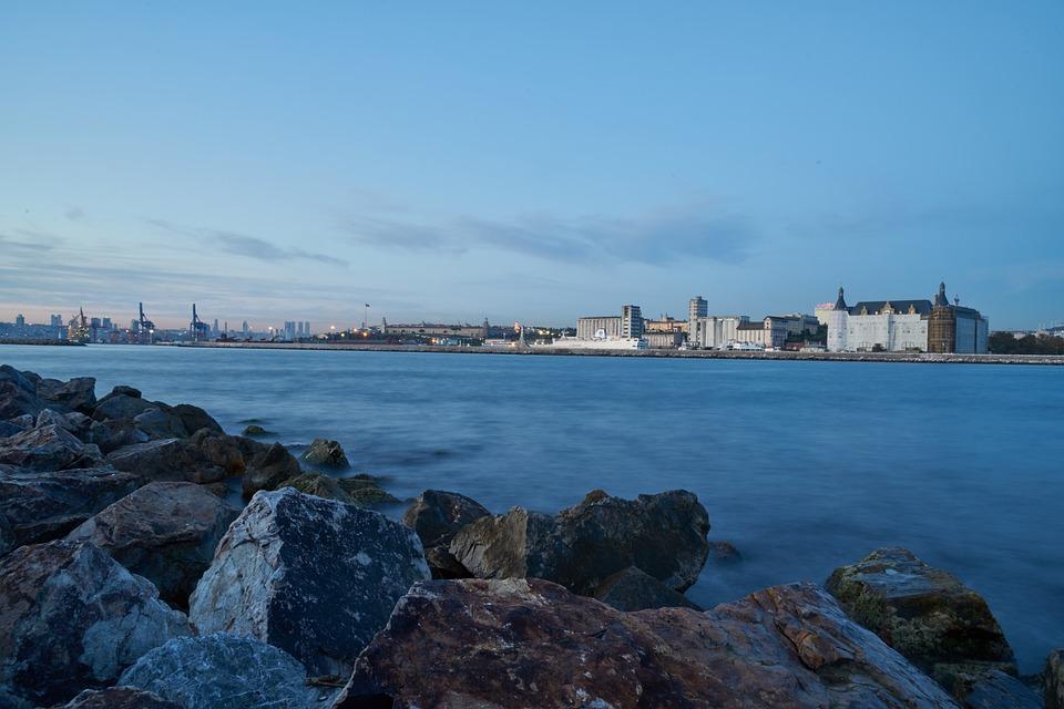 Rocky, Marine, Blue, Water, Long Exposure, Wave, City