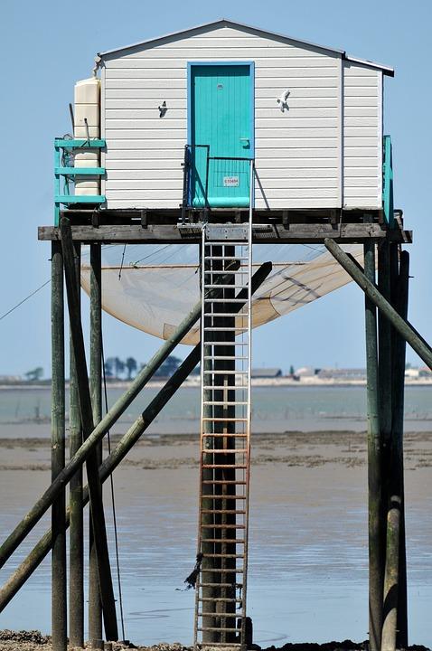 Cabin, Door, Stairs, Sea, Ocean, Fishing, Marine