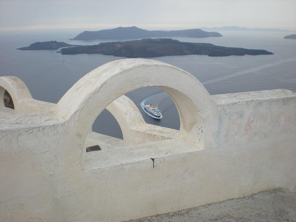 Santorini, Greek Island, Greece, Marine, Caldera, Ship