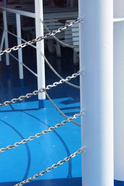 Railings, Blue, Nautical, Metal, Sea, Marine, Boat