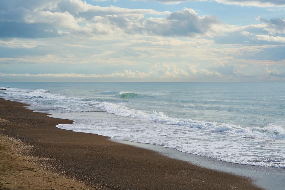 Marine, Beach, Landscape, Wave, Sand, Sky, Clouds