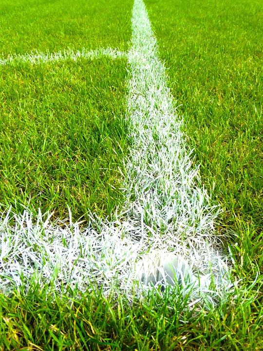 Football Field, Corner, Grass, Mark, Football Meadow