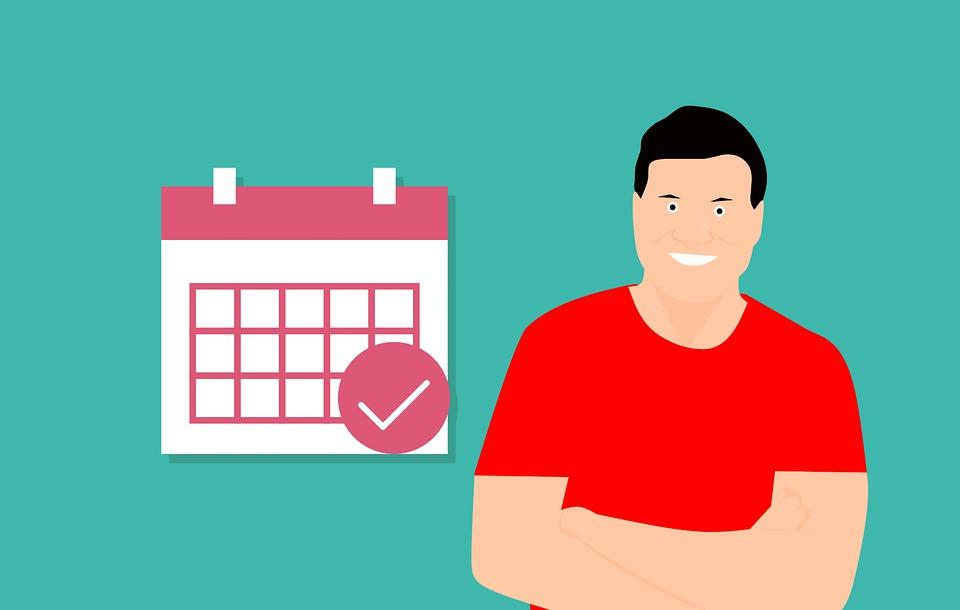 Calendar, Mark, Man, Happy, Work, Cartoon, Deadline