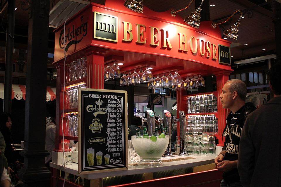 Market, Spain, Enjoying, Beer, Bar, Red