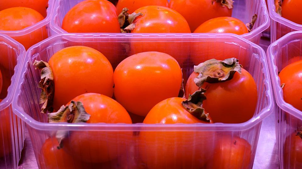 Persimmons, Kaki, Packing, Fruit Stand, Market