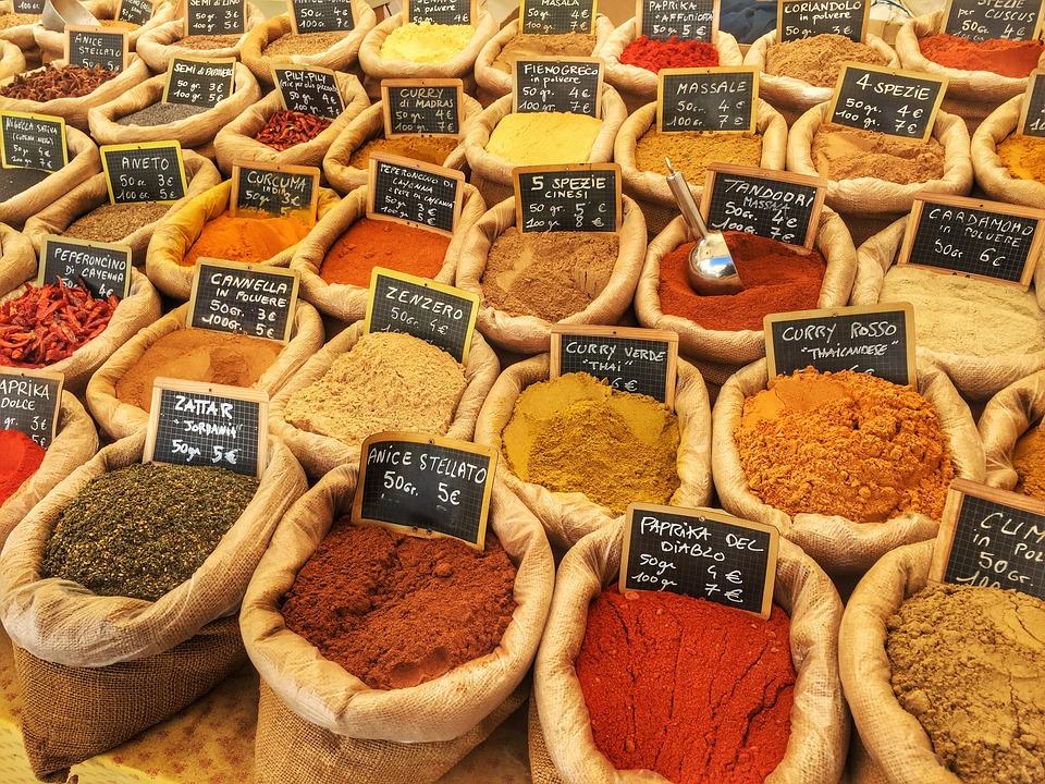 Spices, Market, Color, Sacks, Sale