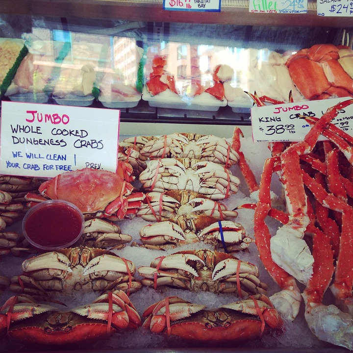 Seafood, Market, Crab, Fish, Food, Fresh, Fishing