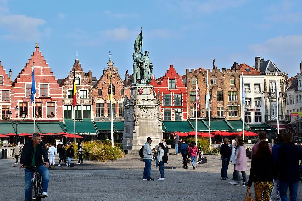 Market Square, Bruges, Monument, Statue, Markt, Belgium