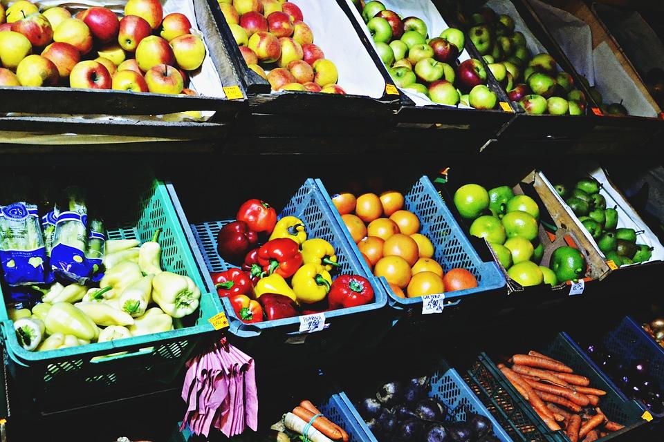 Market, Fruits, Vegetables, Food, Peppers, Apples