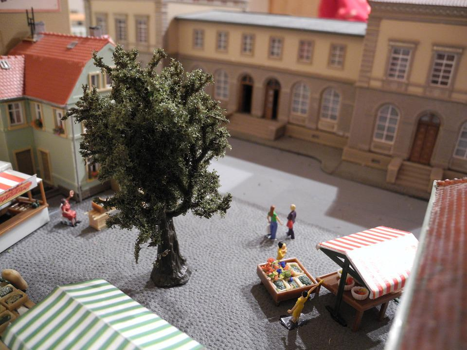 Model Railway, H0, Marketplace, Fruit Stand, Toys
