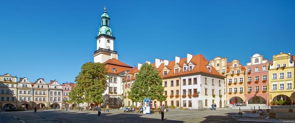 Poland, Silesia, Jelenia Góra, Town Hall, Marketplace