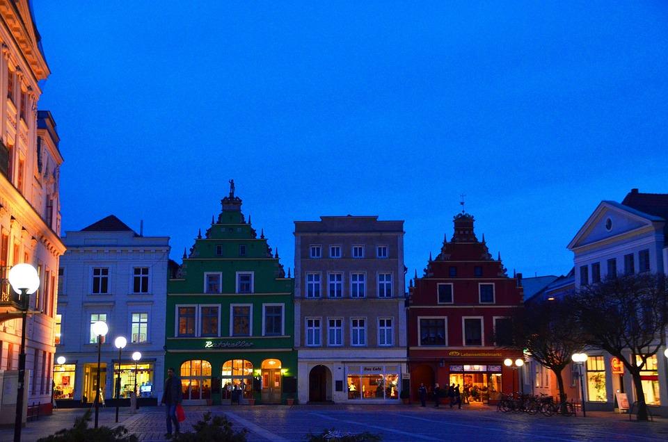 Market, Güstrow, Mecklenburg, Marketplace, Night