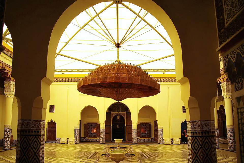 Morocco, Marrakech, Palace, Light, Yellow, Chandelier