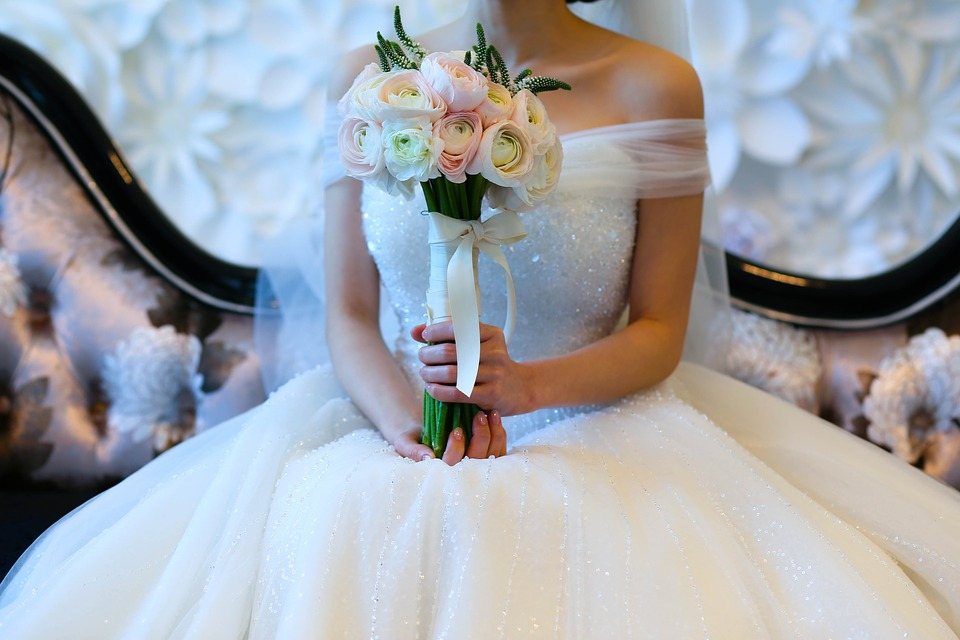 Marriage, Bouquet, Happy, Dress Up, Wedding Dress