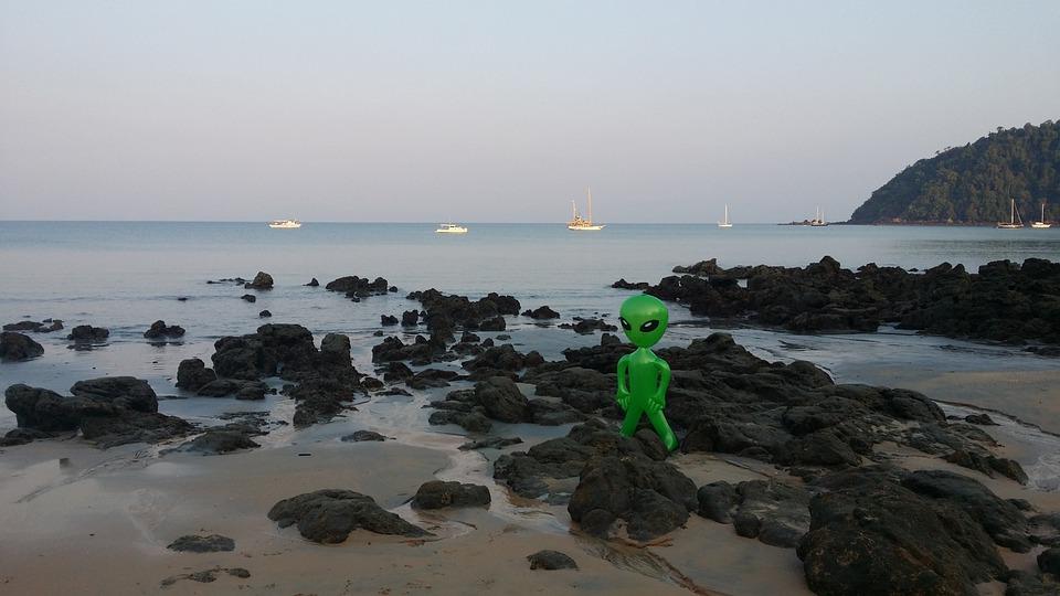Alien, Alie, Mars Male, Fig, Inflatable, Sea, Coast