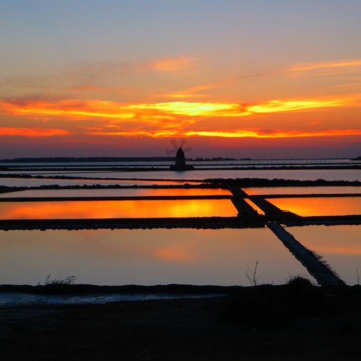 Sunset, Saline, Marsala