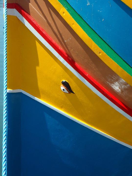 Marsaxlokk, Port, Luzzu, Uzzus, Malta, Colorful