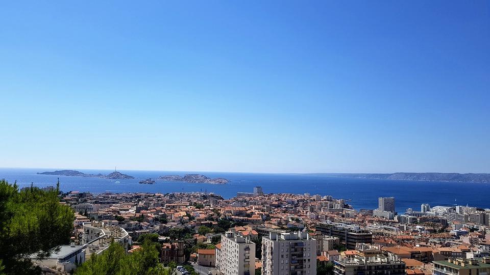 Island, France, Marseille, Sea, City, Panorama