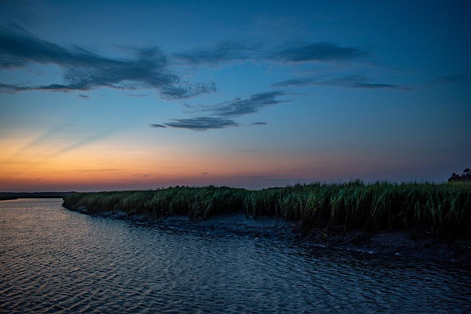 Sunset, Nature, Landscape, Marine, Marsh