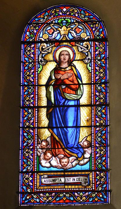 Stained Glass, Window, Church, Colorful, Mary