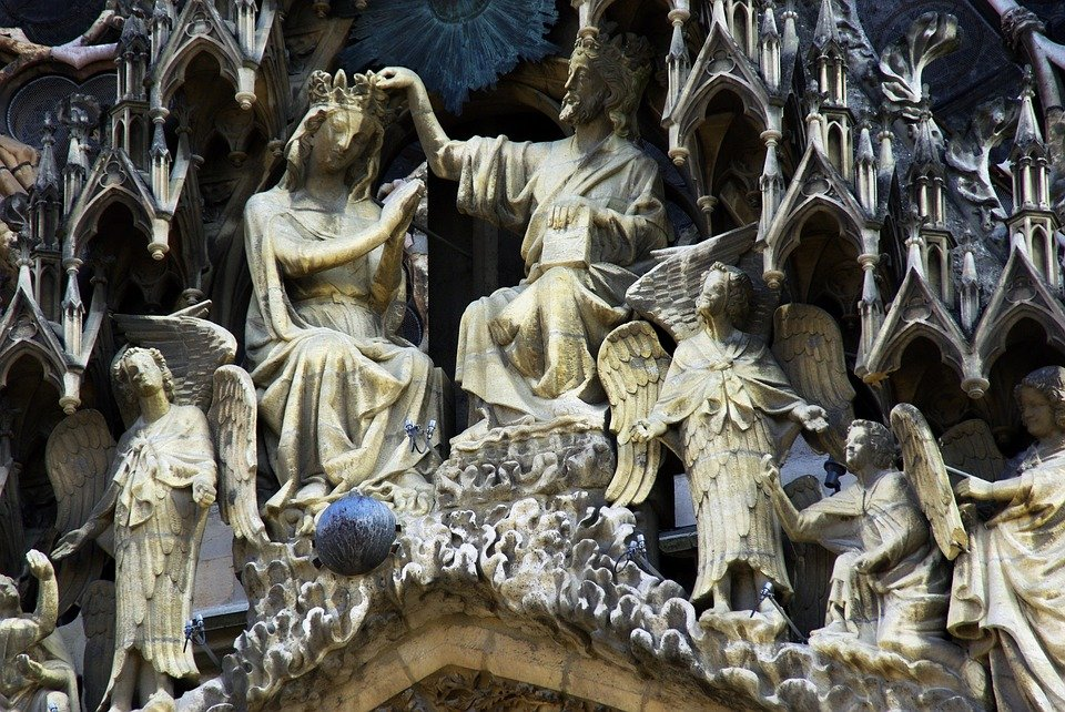 Reims, Cathedral, Sculptures, Statues, Mary, Religion