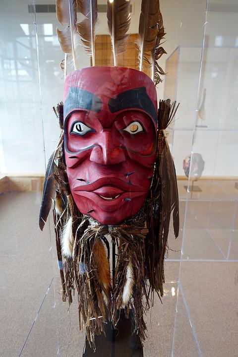 Mask, Canadian, Feathers, Wooden, Security Red