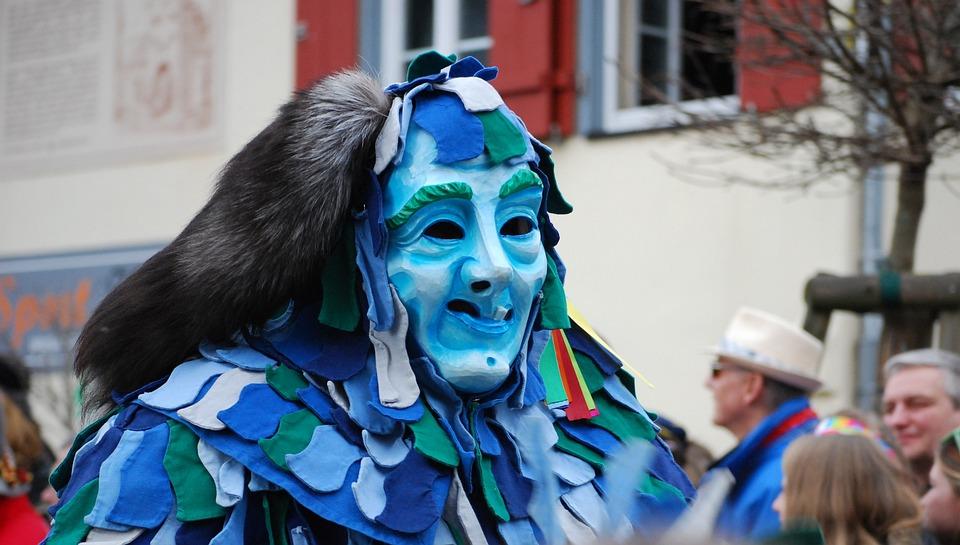 Carnival, Shrovetide, Parade, Germany, Mask, Blue