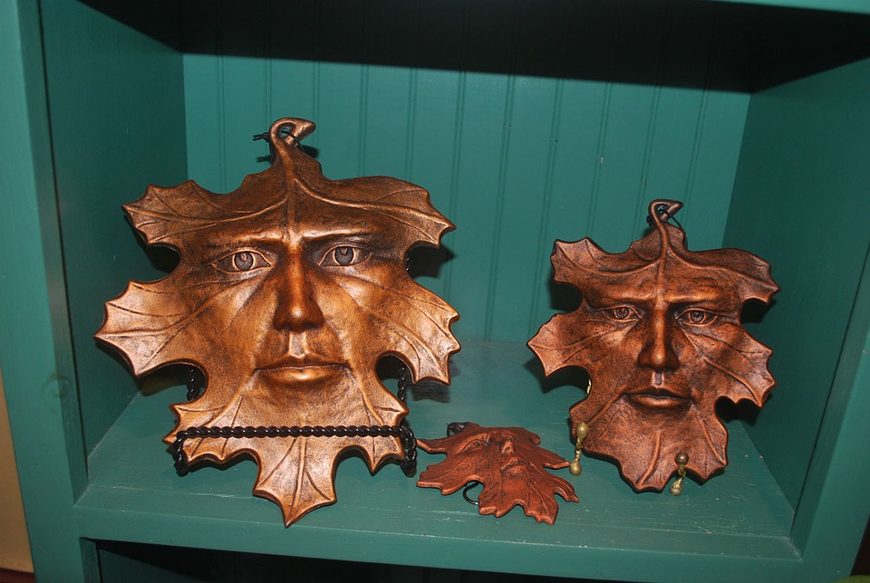Leaf, People, Art, Mask, Bronze, Metal