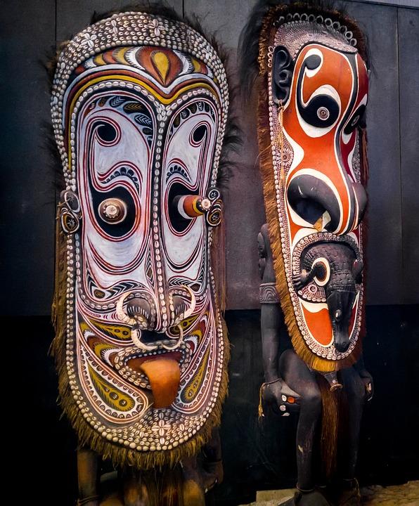 Mask, Papua New Guinea, Sculptures, Wood Sculptures