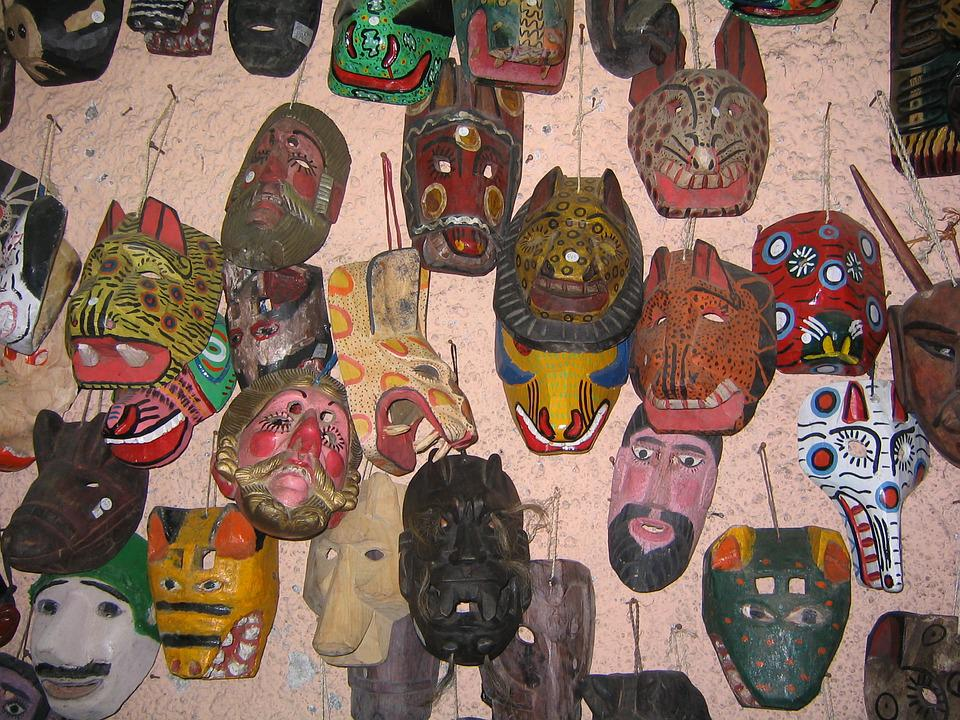 Masks, Guatemala, Artisan, Culture, Wood, Market