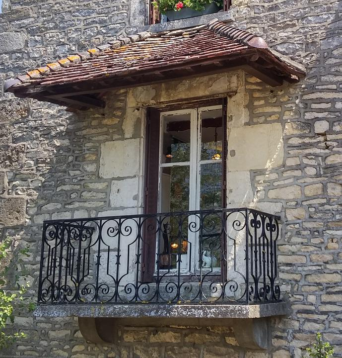 France, Balcony, Old, Masonry, Facades, Romantic, Idyll