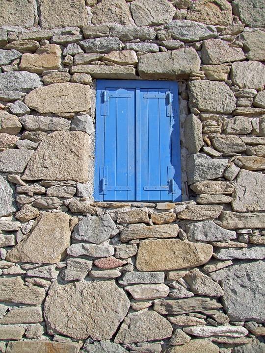 Window, Blue, Stone Wall, Wall, Masonry, Old