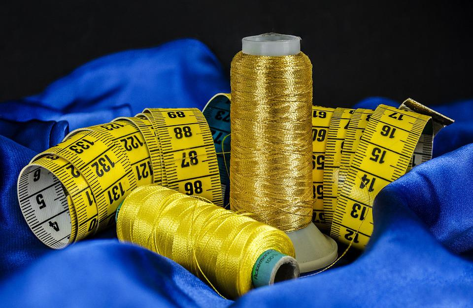 Sewing, Cotton, Thread, Material, Tape, Measure, Blue