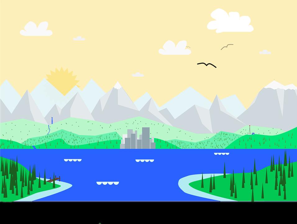 Material, Design, Google, Landscape, City, Lake