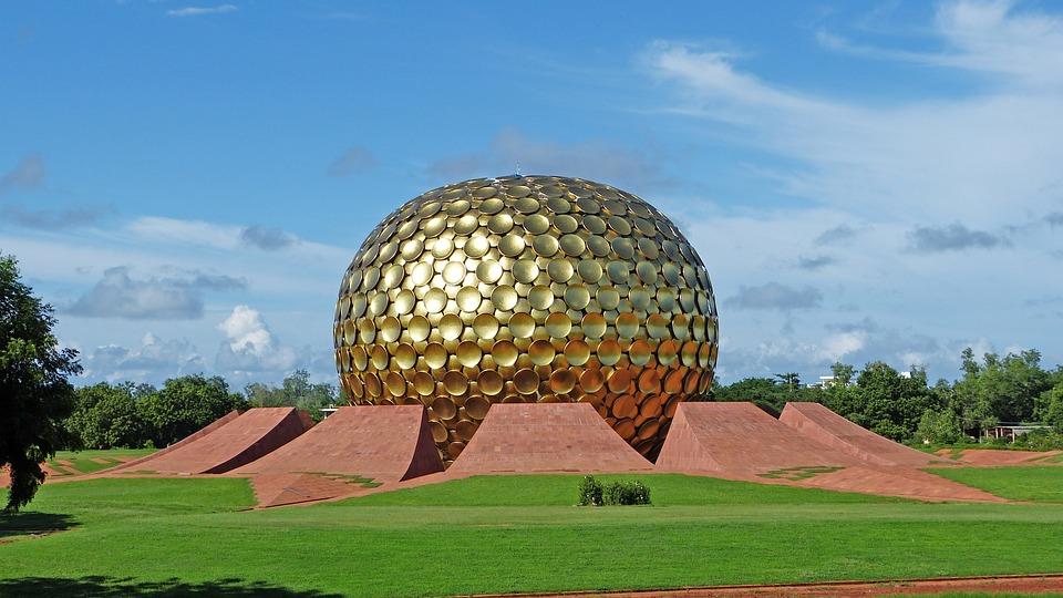 Nature, Grass, Sky, Matrimandir, Auroville, India