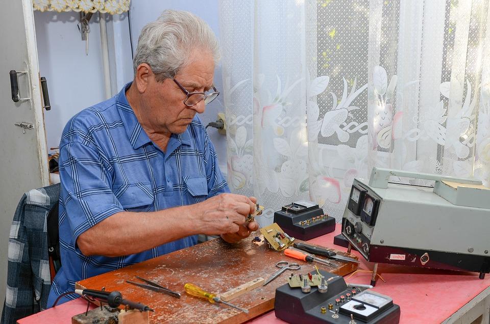 Grandfather, Grandpa, Old, Man, Mature, Works, Braze