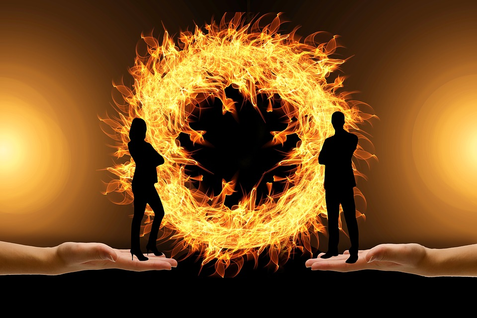 Dispute, Man, Woman, Silhouettes, Fire, Ring, Mature