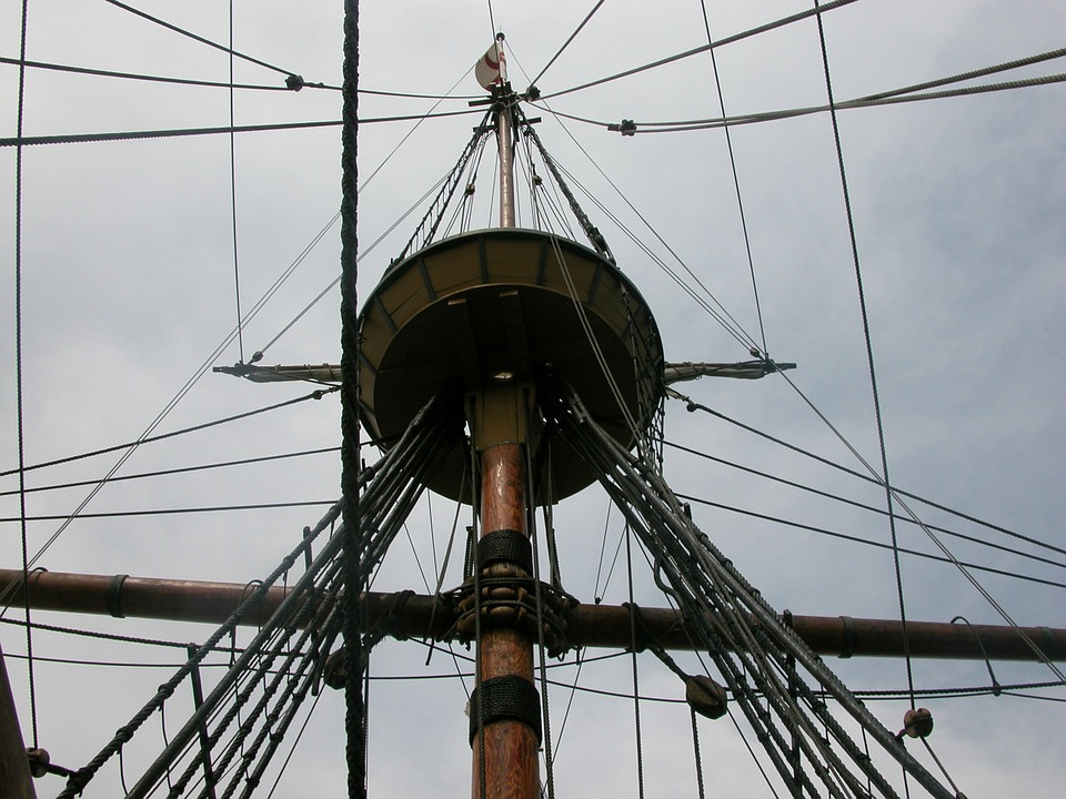 Mayflower, Crow's Nest, Ship, Boat, Vessel, Rigging