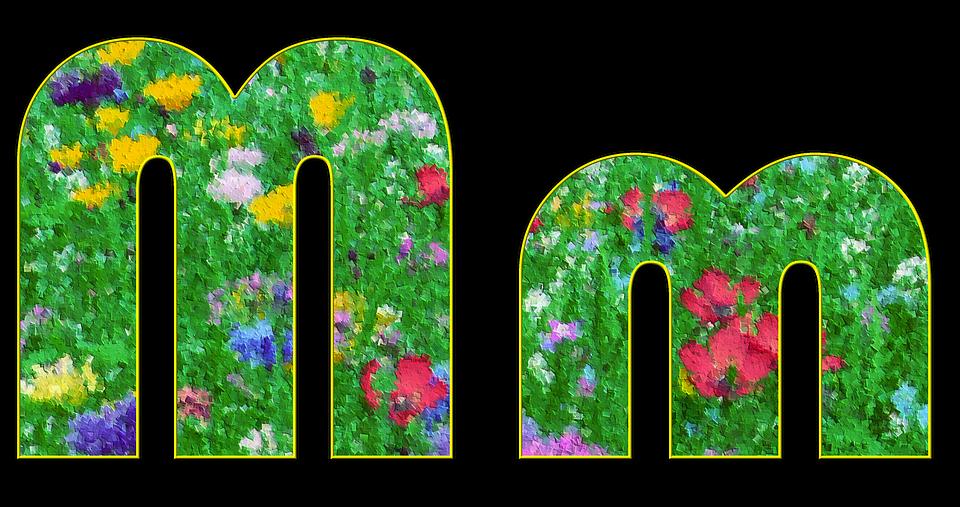 M, Letter, Alphabet, Font, Spring, Meadow, Flowers