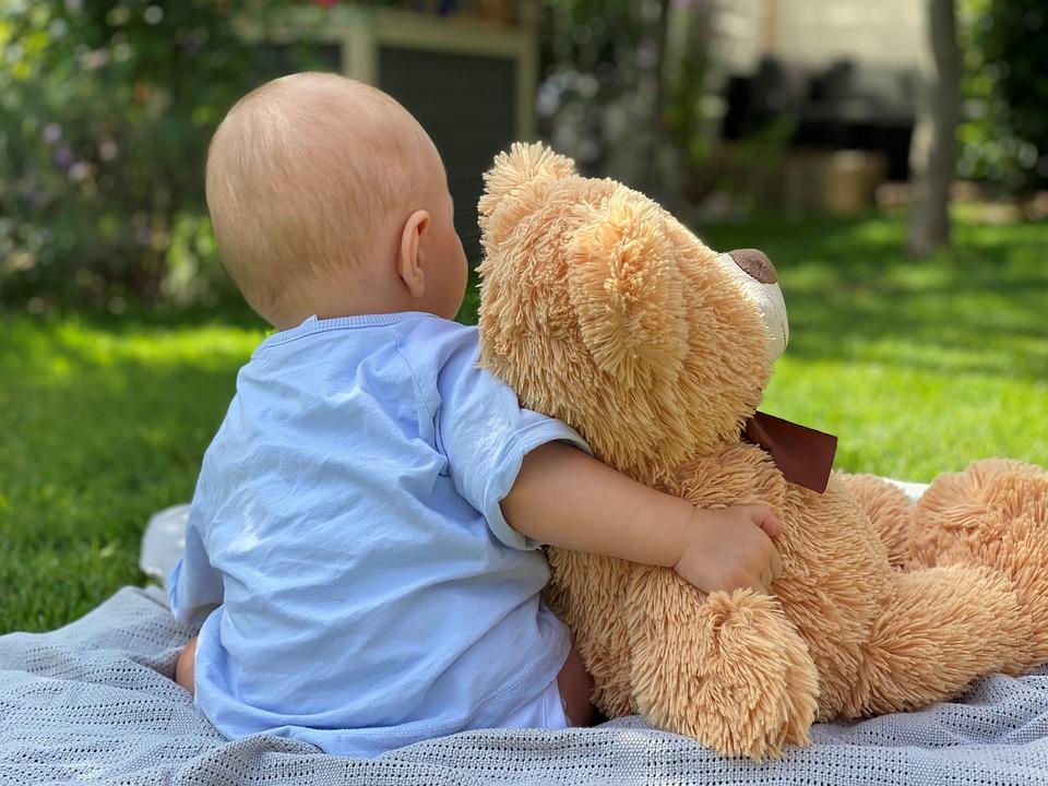 Baby, Teddy Bear, Blanket, Stuffed Animal, Meadow