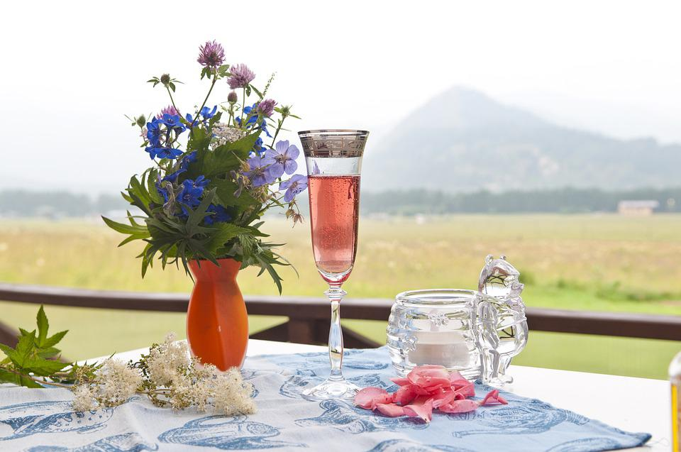 Flowers, Champagne, Mountains, Meadow, Love