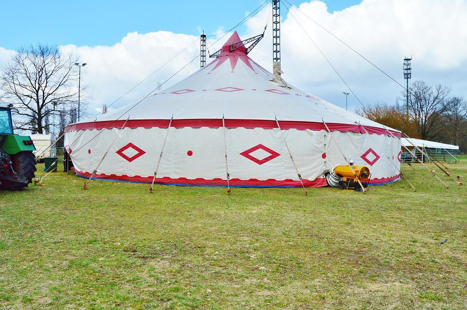 Circus, Tent, Circus In The Green, Meadow, Circus Tent